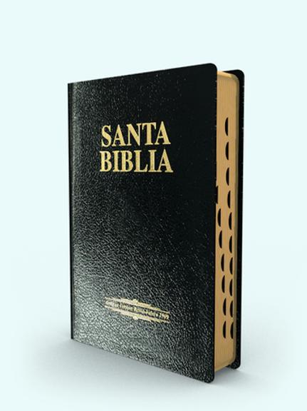 Biblia Letra Gigante RVR 1909,  Imitación Piel Negro Con Índice