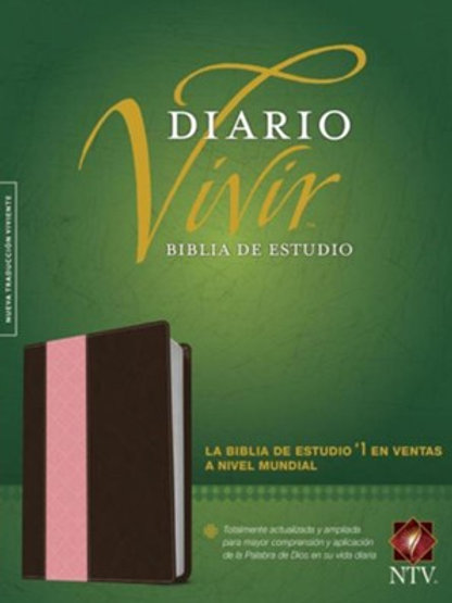 Biblia de estudio Diario vivir NTV, piel italiana Rosa/Café