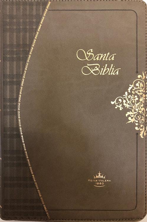 Biblia ultrafina con índice y cierre Piel Café Claro RVR 1960