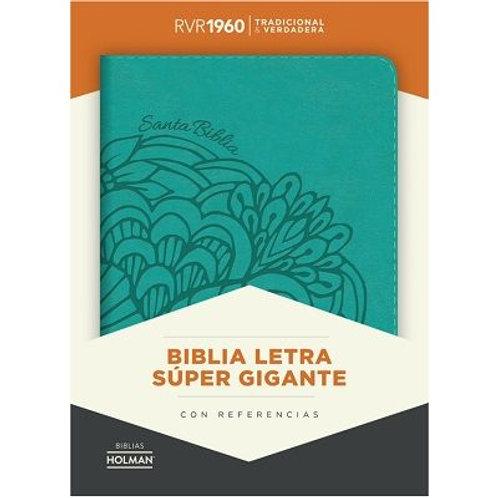 Biblia letra súper gigante, RVR 1960, Símil Piel Aqua con índice