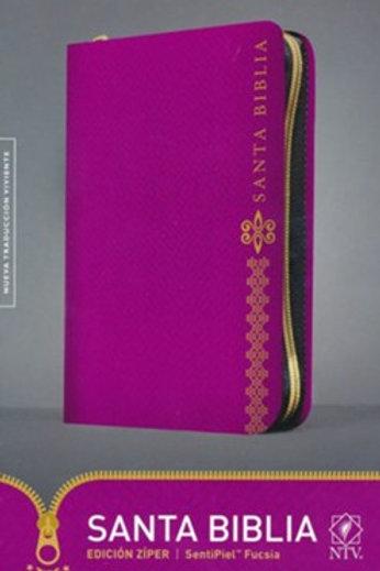 Biblia NTV Edición Zíper, SentiPiel Fucsia