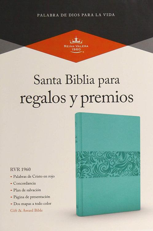 Biblia Para Regalos y Premios, RVR 1960, Símil Piel Azul Turquesa