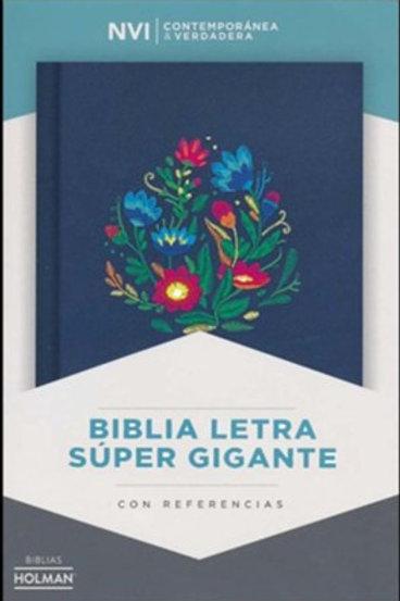 Biblia Letra Súper Gigante NVI, Azul Bordado Sobre Tela