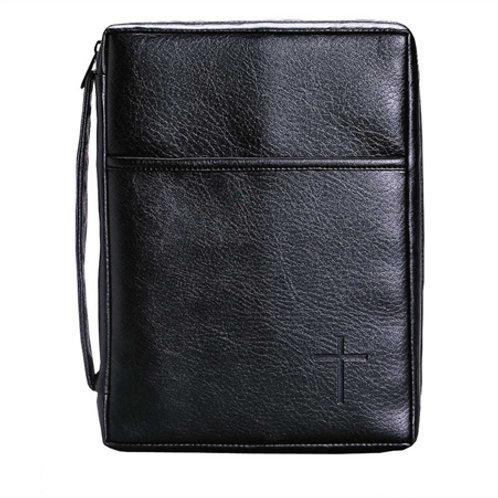 Bible Cover LG Handle/Pocket Black
