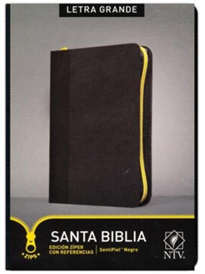 Biblia NTV Edición Zíper Con Referencias, SentiPiel Negro