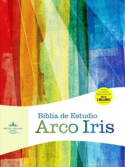 Biblia de estudio Arco Iris, RVR 1960, Símil piel gris pizarra/oliva con índice