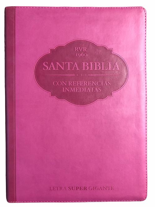 Biblia Letra Súper Gigante RVR 1960, Referencias Inmediatas, Imitación Piel Rosa
