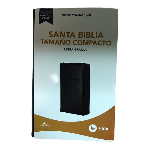 Biblia Letra Grande Tamaño Compacto RVR 1960, Imitación Piel, Zíper, Índice