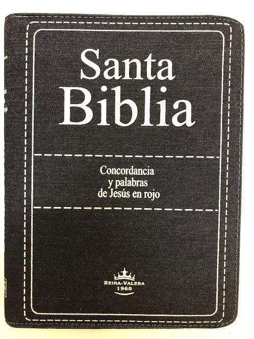 Biblia Letra Grande RVR 1960, Blue Jean Con Índice y Zíper