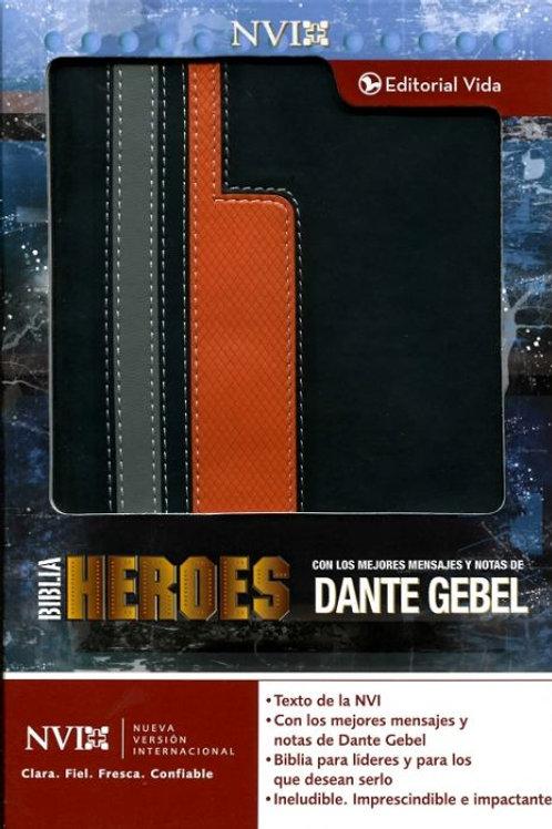 Biblia Héroes NVI, Piel Italiana Negro / Naranja