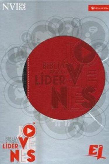 Biblia Para El Líder De Jóvenes NVI, Piel Italiana Rojo / Negro