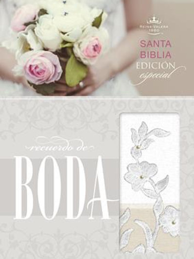Biblia Recuerdo de Boda, RVR 1960, Símil Piel Blanco/Lino/Encaje