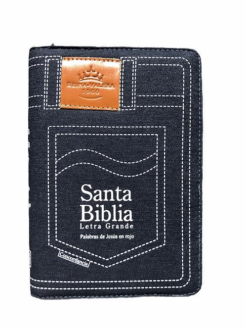 Biblia Letra Grande, Tamaño Manual, RVR 1960, Blue Jean Con Índice y Zíper