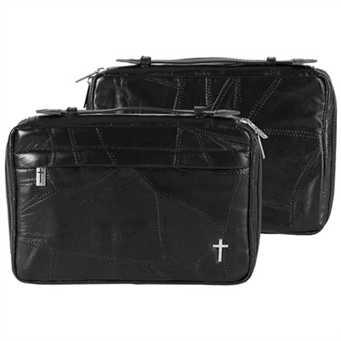 Bible cover leather black lg patchwork