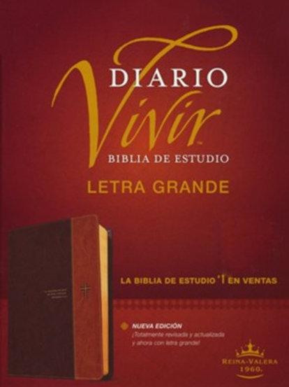 Biblia De Estudio Diario Vivir, RVR 1960, Letra Grande, SentiPiel Café