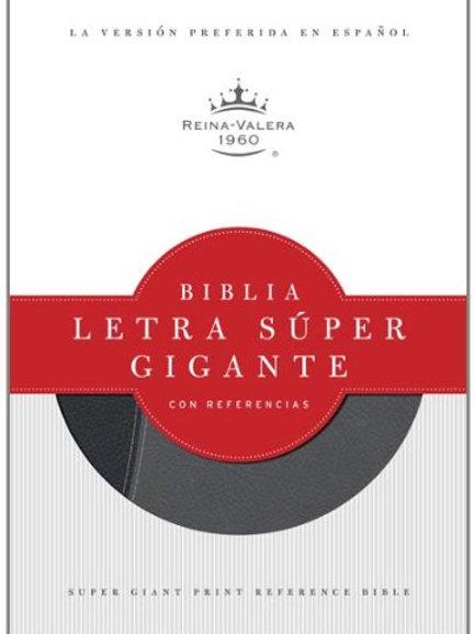 Biblia súper gigante con referencias símil piel negro/gris RVR 1960