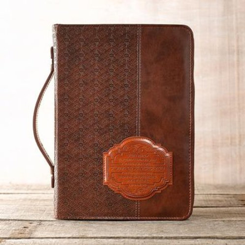 For I Know the Plans Bible Cover, Lux-Leather, Brown, Large