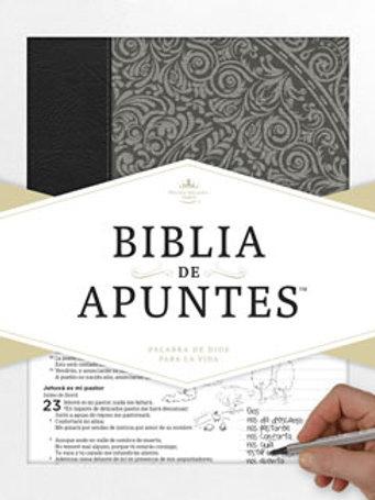 Biblia de apuntes, piel gris y tela impresa RVR60