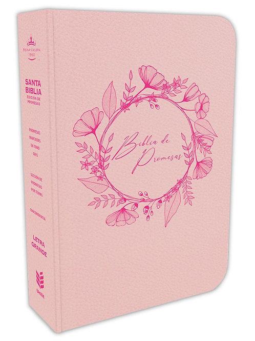 Biblia De Promesas Letra Grande RVR 1960, Piel Especial Rosado Con Índice