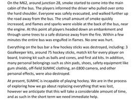 Bus fire - Club statement