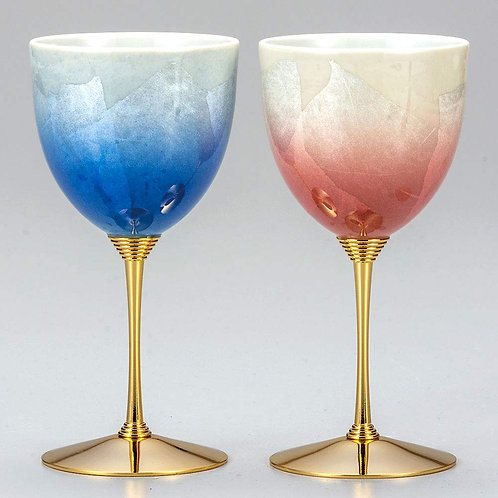 九谷焼ペアワインカップ 銀彩青赤