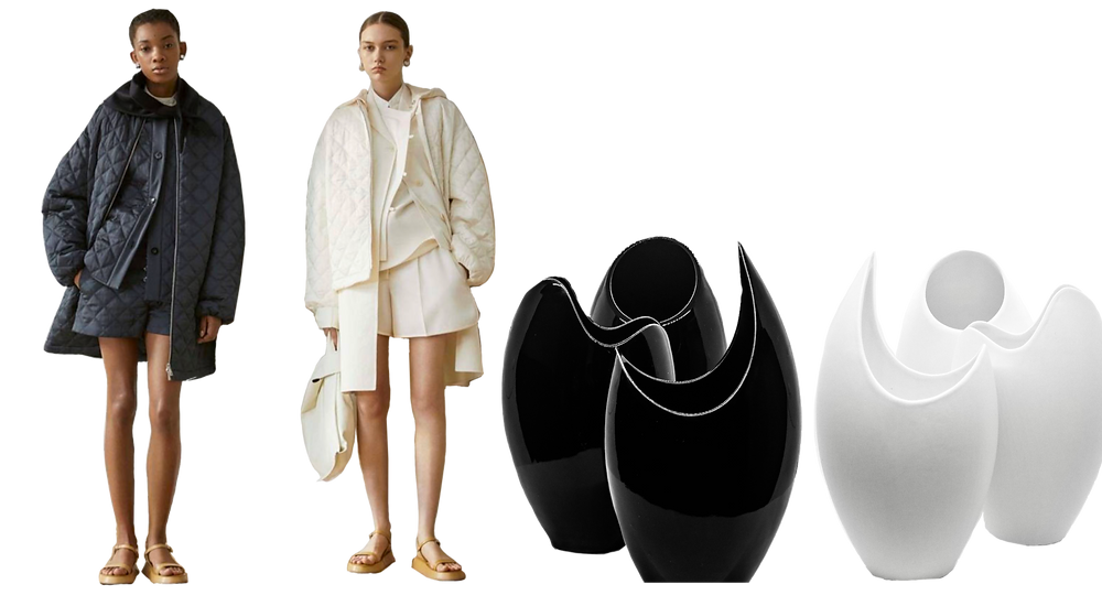 Jil Sanders SS 19 line plays with texture and neutral colors to create minimalist streetwear. Coupled with a sleek silhouette, black and white radiate elegance and sophistication. buonaforma's obsidian black and matte white collection is a simple way to provide elegance to a space.