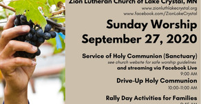 September 27 Online Resources for Worship