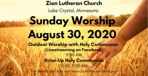 August 30 Online Resources for Worship