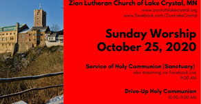 October 25 Online Resources for Worship