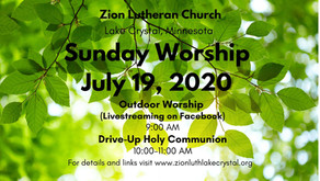 July 19, 2020: Online Resources for Worship