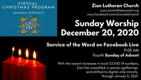 December 20 Online Resources for Worship