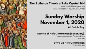November 1 Online Resources for Worship