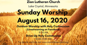August 16 Online Resources for Worship