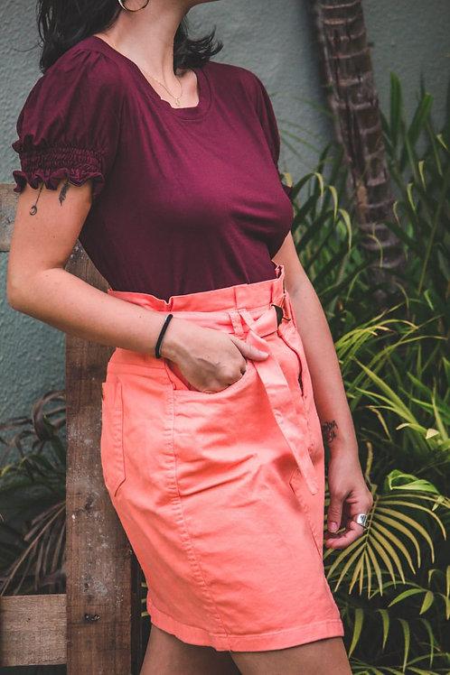 Blusa com punho manga franzida