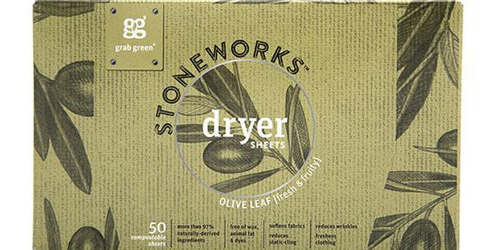 GRAB GREEN STONEWORKS COMPOSTABLE DRYER SHEETS OLIVE LEAF 50 COUNT