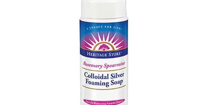 HERITAGE STORE COLLODIAL SILVER FOAMING ROSEMARY SPEARMINT SOAP 8 FL. OZ.
