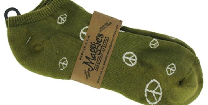 MAGGIE'S FUNCTIONAL ORGANICS GREEN WITH PEACE PRINT FOOTIES 9-11