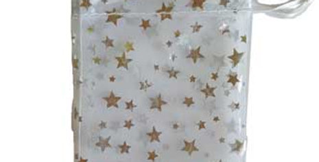 White Organza Pouch with Silver Stars