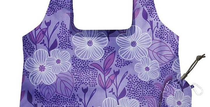 "CHICOBAG BLISS VITA PURPLE BLOOMS REUSABLE SHOPPING BAG 19"" X 13"""