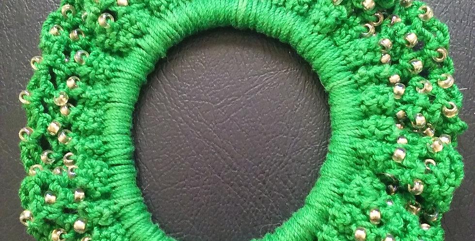 Hand Crocheted and Beaded Hair Ties - Green