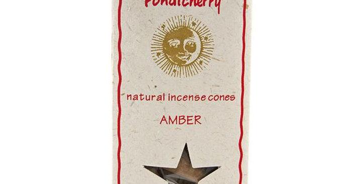 PONDICHERRY NATURAL AMBER INCENSE CONES 20 COUNT