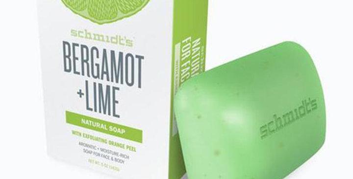 SCHMIDT'S DEODORANT BERGAMOT LIME NATURAL BAR SOAP 5 OZ. BAR