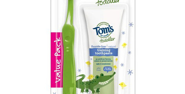 TOM'S OF MAINE EXTRA SOFT TODDLER TOOTHBRUSH WITH FLUORIDE-FREE TOOTHPASTE COMBO