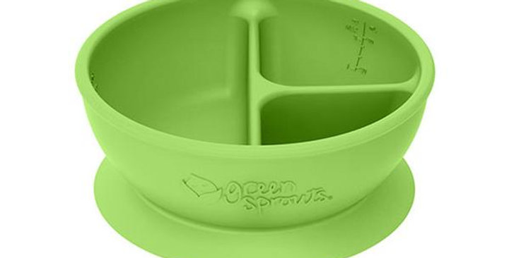 GREEN SPROUTS FEEDING 3-SECTION SUCTIONED LEARNING BOWL, GREEN