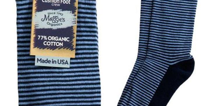 MAGGIE'S FUNCTIONAL ORGANICS BLUE/NAVY STRIPED CUSHION CREW SOCKS 9-11