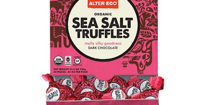 Alter Eco Organic Dark Chocolate Sea Salt Coconut Oil Truffles 60 count display