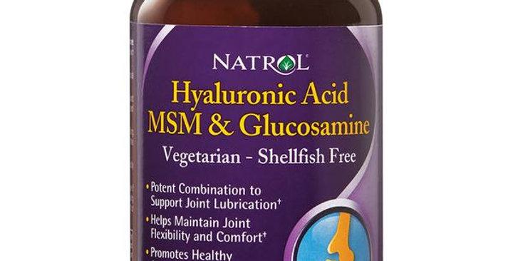 NATROL VEGETARIAN HYALURONIC ACID MSM & GLUCOSAMINE 90 CAPSULES