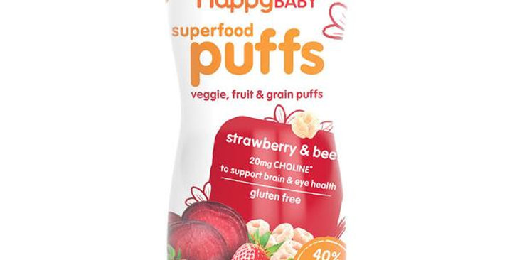 HAPPY FAMILY BRANDS STAGE 3 ORGANIC STRAWBERRY HAPPY PUFFS 2.1 OZ.