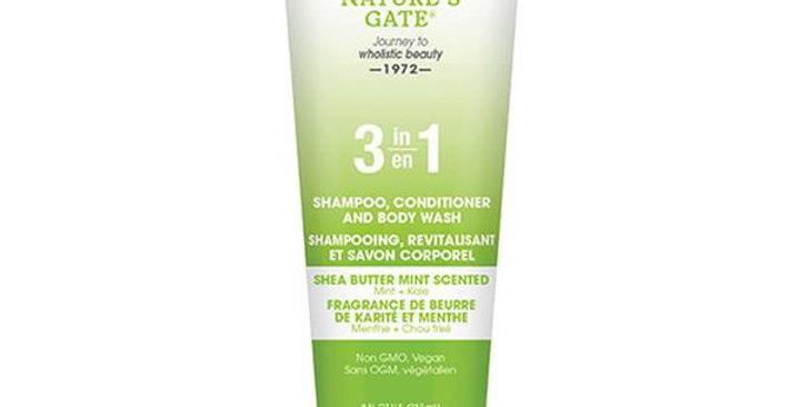 NATURE'S GATE 3-IN-1 SHEA BUTTER SHAMPOO, CONDITIONER & BODY WASH 8 OZ.