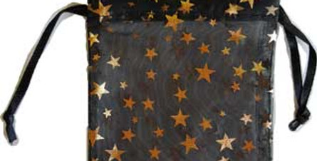 Black Organza Pouch with Gold Stars